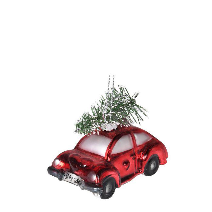 Auto Weihnachtsbaum.Baumschmuck Rot Glänzendes Santa Auto Bepackt Mit Weihnachtsbaum Mit Schneespitzen