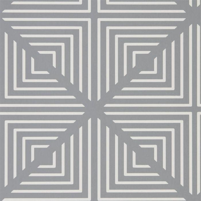 Sehr graue Tapete mit weißem geometrischen Muster, Vliestapete grau OI52