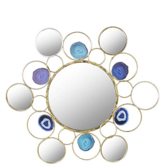 runder Wandspiegel aus goldenem Ring-Rahmen verziert mit blauen ...