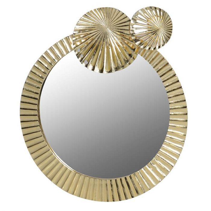 runder Wandspiegel mit goldenem Rahmen in Seerosenblatt-Optik und ...