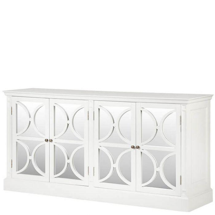 Weißes Sideboard Im Landhausstil Mit Türen Aus Spiegelglas Und