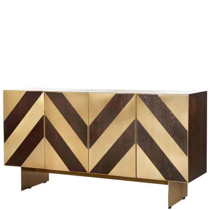 Dunkles Holz Sideboard Im Vintage Stil Mit Geometrisch Gemusterten