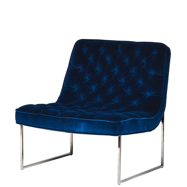 Eleganter Club Sessel Aus Samt Mit Dichter Knopfheftung Dunkelblau