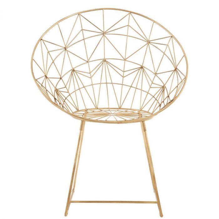 Trendiger Matt Goldener Stuhl Mit Geometrischem Muster Aus Metall Moderner Gerundeter Sessel Gold