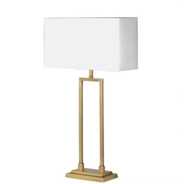 elegante Tischleuchte mit zartem goldenen Rahmen, Lampenschirm weiß