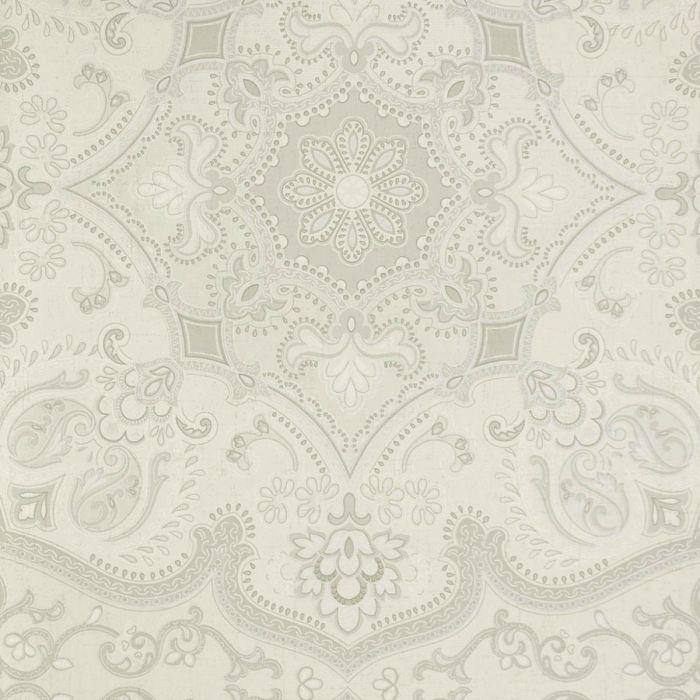 4000e67b91a5b3 Tapete mit orientalischem Muster reflektierende Vliestapete gruen silber
