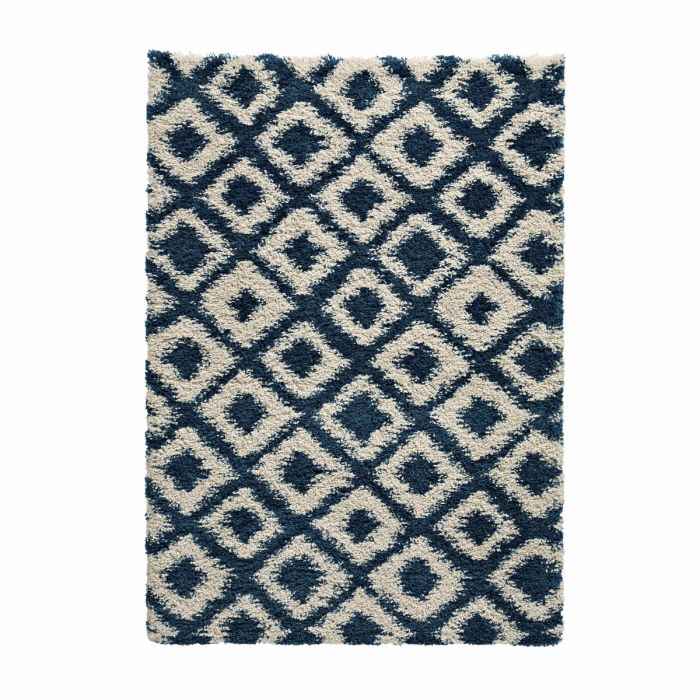 weicher teppich aus feinem garn mit geometrischem linierten muster dunkelblau und cremefarben - Teppich Geometrisches Muster