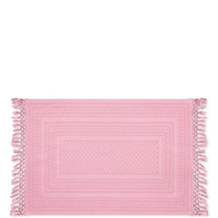 Rechteckiger Teppich Aus Gewebter Baumwolle Und Fransen In Rosa