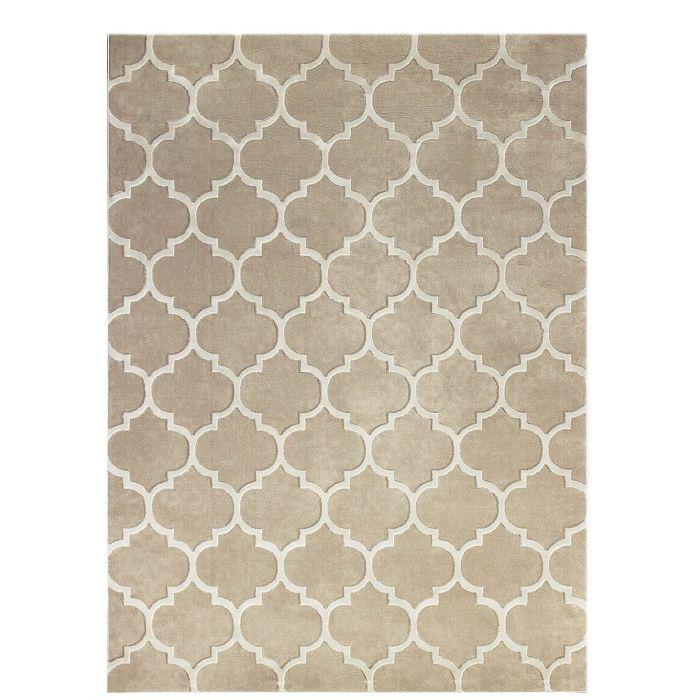 Kunstfaser-Teppich mit Trellis-Muster, beige