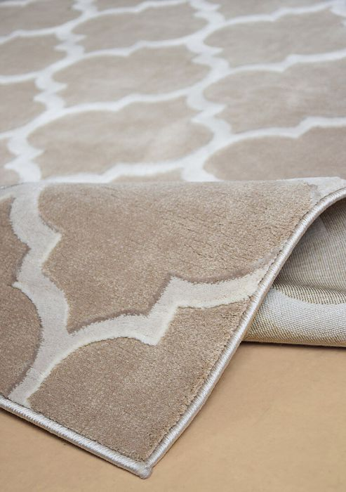 Kunstfaser Teppich Mit Trellis Muster Beige
