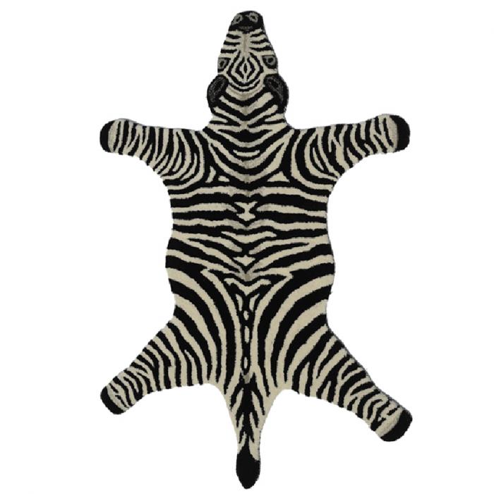 Teppich Aus Wolle In Zebra Form Schwarz Weiss