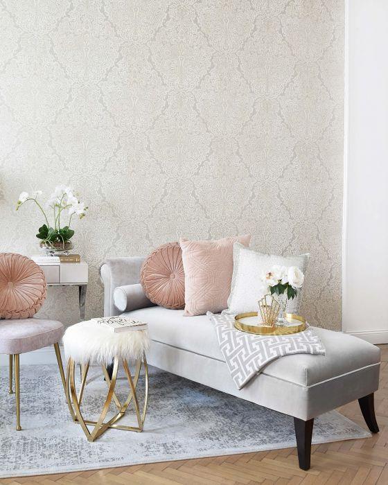 Vliestapete Tapete Ornament Barock Mustertapete Muster Wohnzimmer Grau Silber