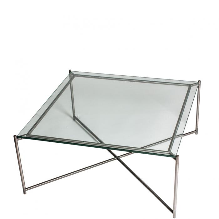 Großer Quadratischer Couchtisch Mit Glasplatte Und Silber Gekreuzten
