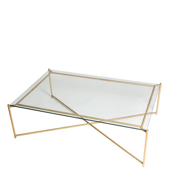 Grosser Couchtisch Mit Glasplatte Und Goldenen Gekreuzten Tischbeinen