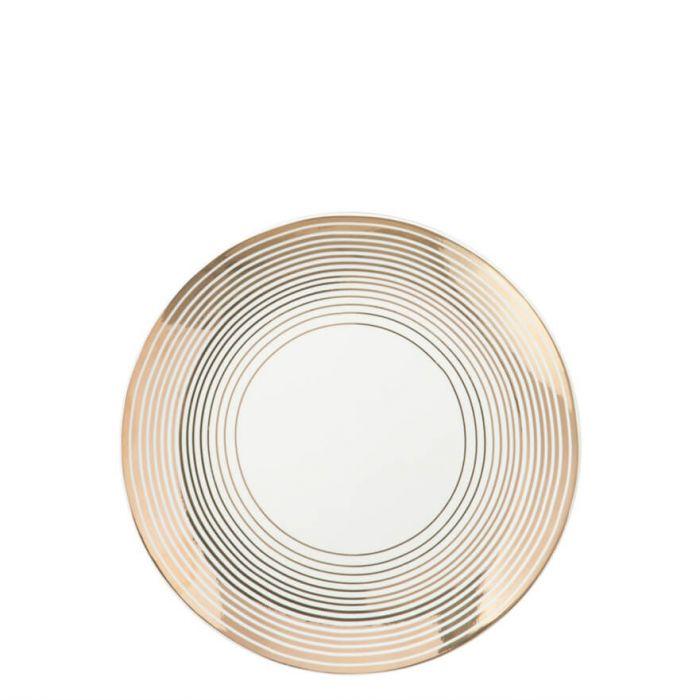 Speiseteller mit gestreiftem Rahmen in Gold
