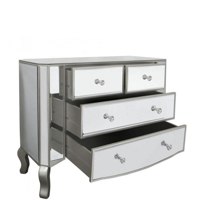 Elegante Verspiegelte Kommode Mit Holzumrandung Silber