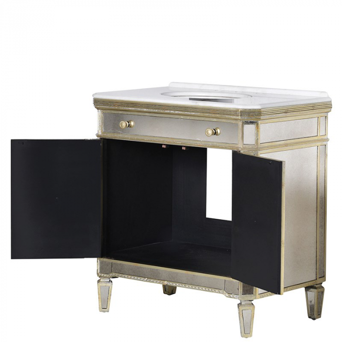 verspiegelter Waschbecken Schrank in Antik Optik mit goldenen Details