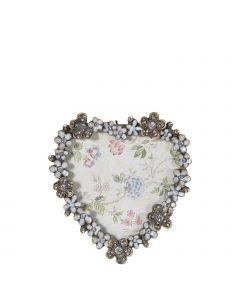 süßer kleiner Bilderrahmen in Herzform mit Blüten und funkelnden Dekosteinen