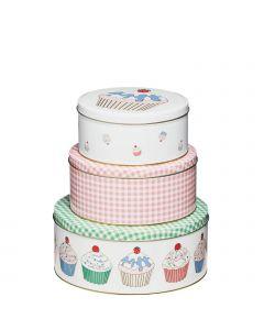 Cupcake Aufbewahrungsdosen Keksdosen mit Cupcake Motiven rosa & grün