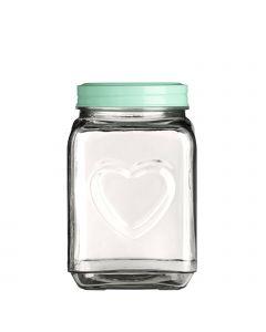 große Vorratsdose aus Glas mit Herzmotiv Deckel mint