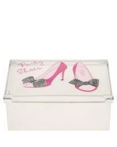 transparente Schuhbox Party Shoes aus Kunststoff mit Schuhmotiven