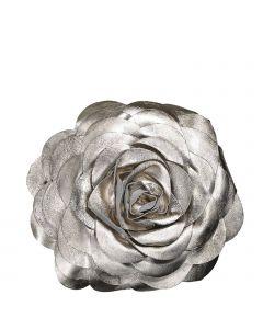 Dekokissen Rose aus Leder in Blumenform silber metallisch