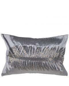Kissenhülle in Seiden-Optik mit großer Feder aus schimmernden Perlen 30 x 45 cm silber