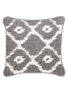 Dekokissen im Ethno-Style mit geometrischem Muster grau & weiß inkl. Füllung