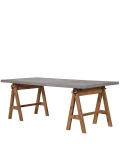 großer moderner Schreibtisch mit grauer Tischplatte in Beton-Optik und Holzböcken