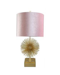 Tischlampe mit goldenem Chromfuß in strahlender Sonnenschein-Optik und rosa Samt-Lampenschirm in Zylinder-Form