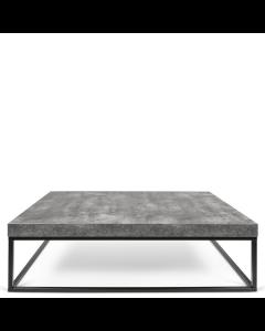 rechteckiger Couchtisch Tischplatte in Beton-Optik Füße aus Metall schwarz