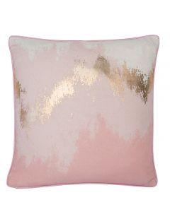 Kissenhülle mit Ombré-Farbverlauf, schimmernden Gold-Elementen und Keder, rosa