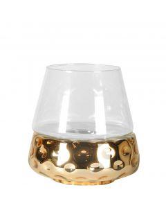 großes Windlicht oder Laterne mit Aufsatz aus klarem Glas und goldenem Sockel in Hammerschlag-Optik