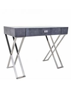 Chagrin Konsole oder Schreibtisch mit gekreuzten Chromfüßen dunkelgrau