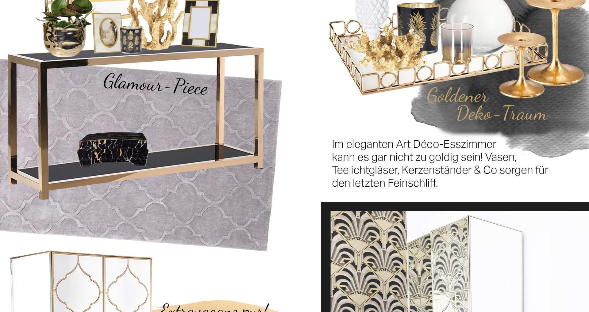 Art Déco-Dinner - Prunkvolles Esszimmer in Gold & Schwarz - Looks