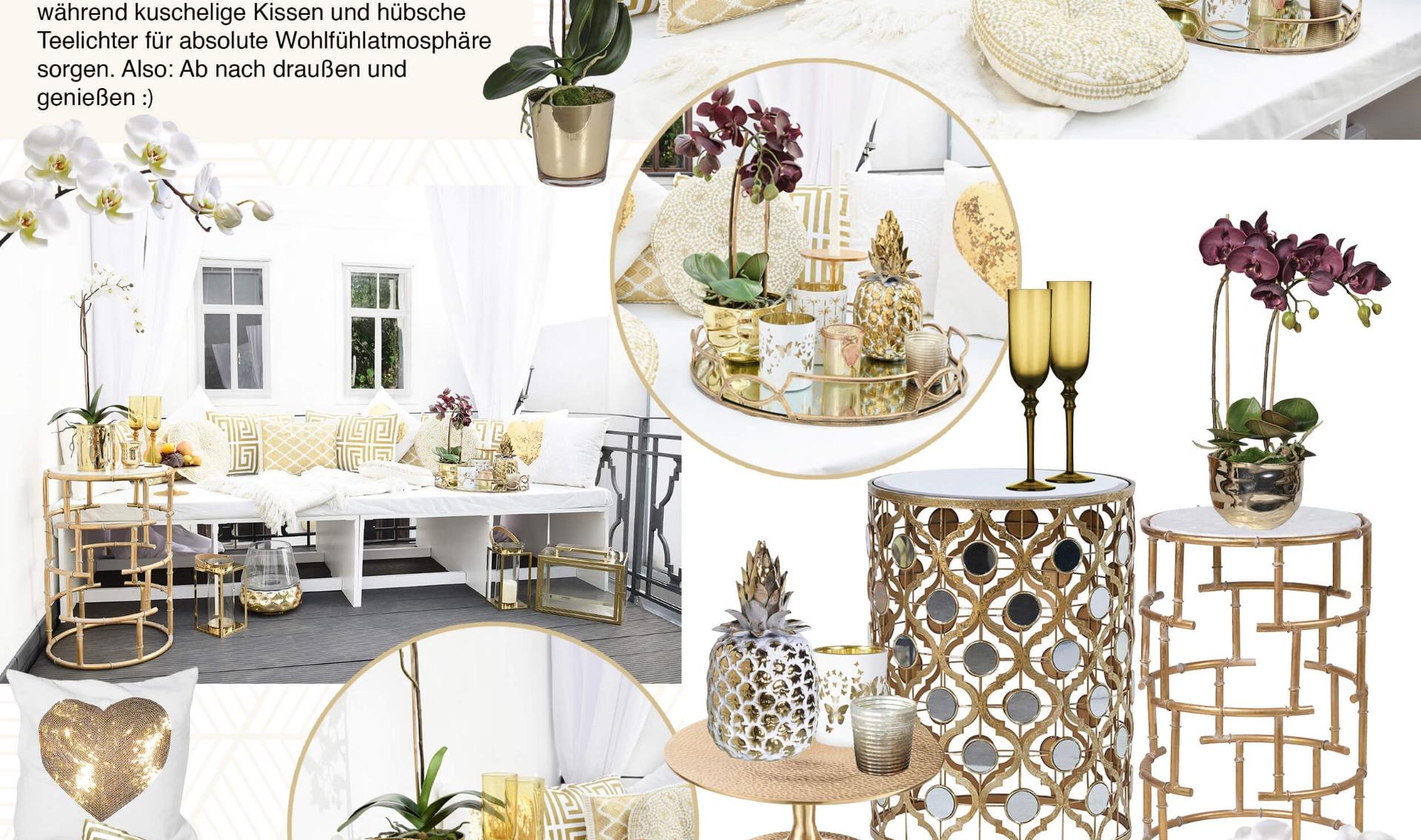 Glamorous Gold Balcony Terrassenlounge In Weiss Gold Looks