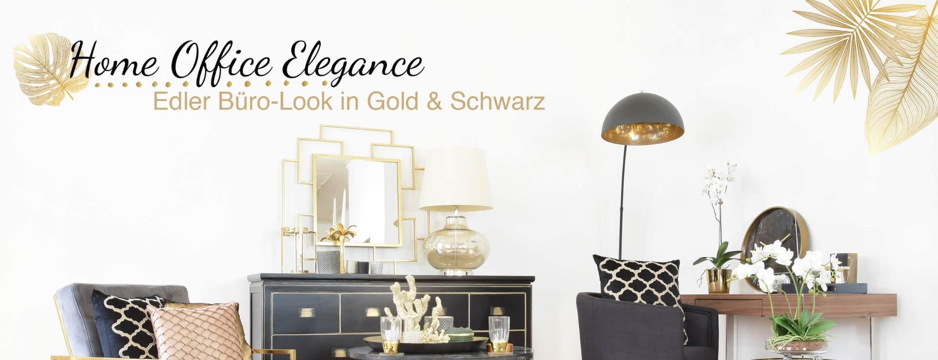 Home Office Elegance Edler Buro Look In Gold Schwarz Looks