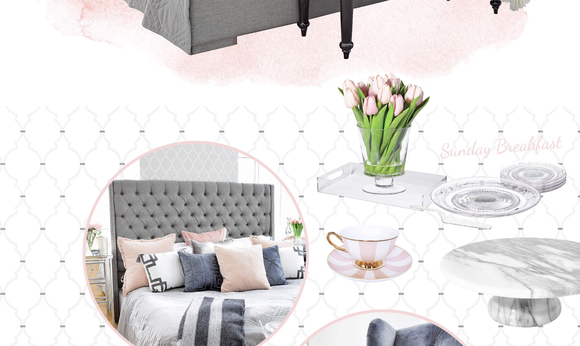 Master Bedroom - Schlafzimmer in Grau & Rosa - Looks