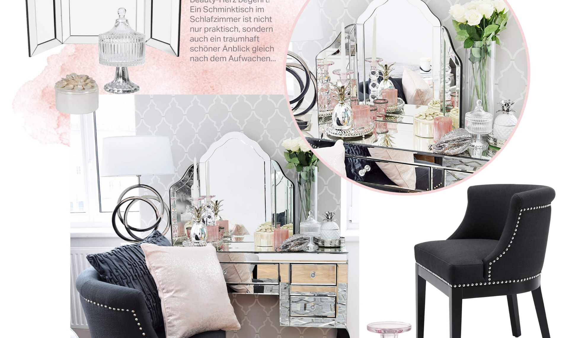 master bedroom schlafzimmer in grau rosa looks. Black Bedroom Furniture Sets. Home Design Ideas