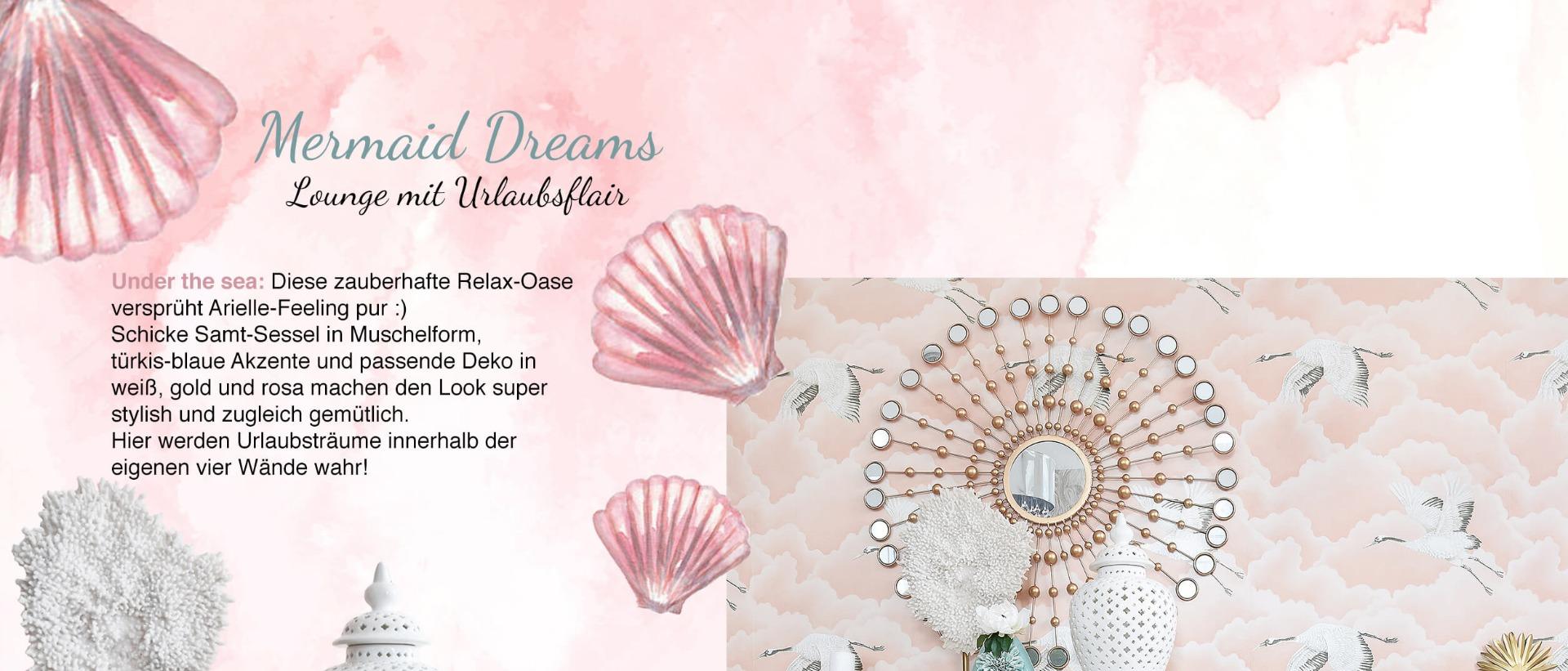 Mermaid Dreams - Wohnzimmer-Lounge in Rosa & Türkisblau - Looks